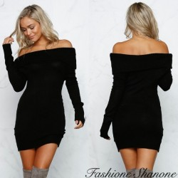Fashione Shanone - Robe pull à encolure Bardot