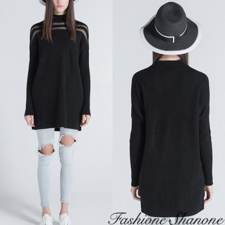Fashione Shanone - Black long sweater with transparent strips