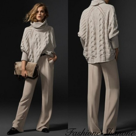 Fashione Shanone - Beige twisted sweater with turtleneck