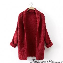 Cardigan rouge mi-long