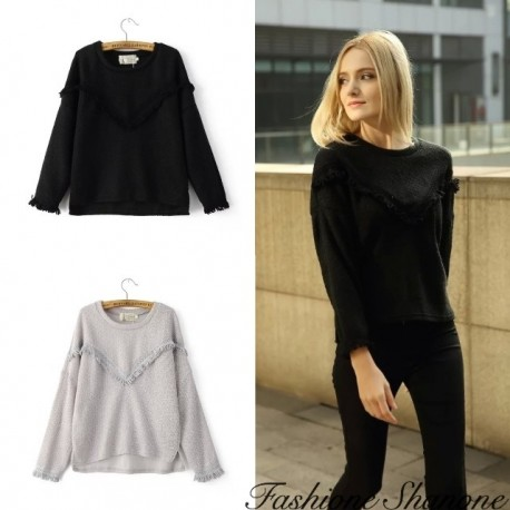Fashione Shanone - Wide sweater with fringes