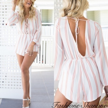 Fashione Shanone - Pink and white wide shorts jumpsuit