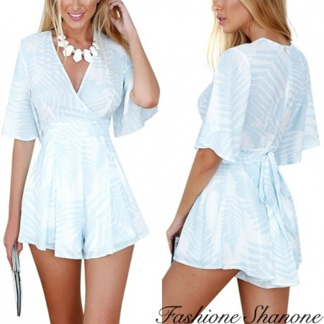 Fashione Shanone - Blue and white wide shorts jumpsuit