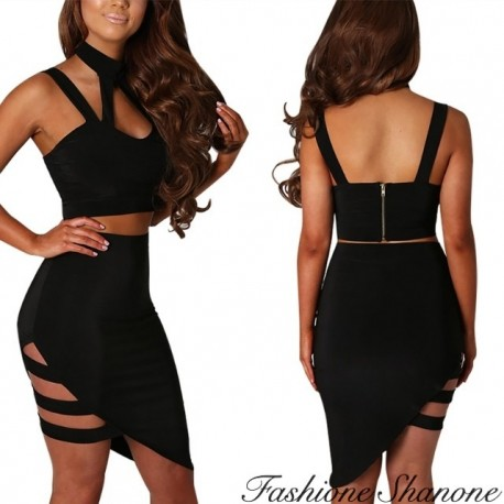 Fashione Shanone - Strappy crop top and high waist skirt set