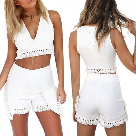 Fashione Shanone - White crop top and high waist shorts set with fringes