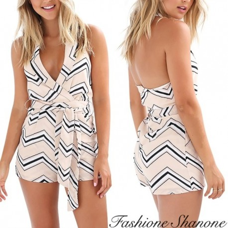 Fashione Shanone - Striped shorts playsuit