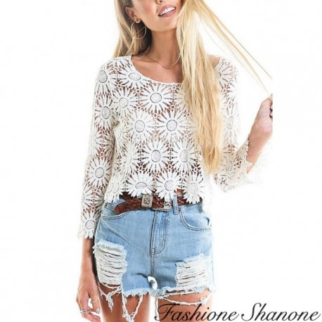 Fashione Shanone - Floral lace crop top