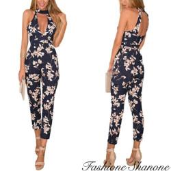 Fashione Shanone - Combinaison pantalon fleurie avec décolleté ras-du-cou