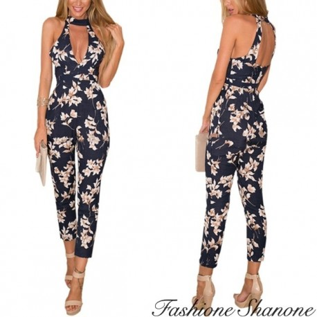 Fashione Shanone - Floral pants jumpsuit with choker neckline