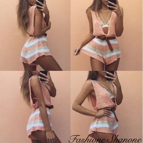Fashione Shanone - Knit shorts jumpsuit with plunging neckline
