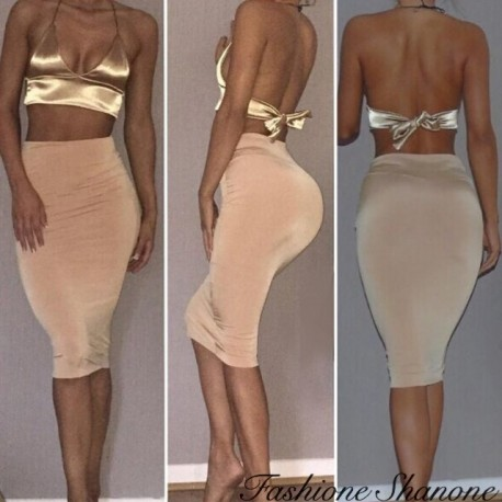 Fashione Shanone - Golden crop top and beige high waist skirt set