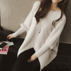 Long pullover loose effet cachemire