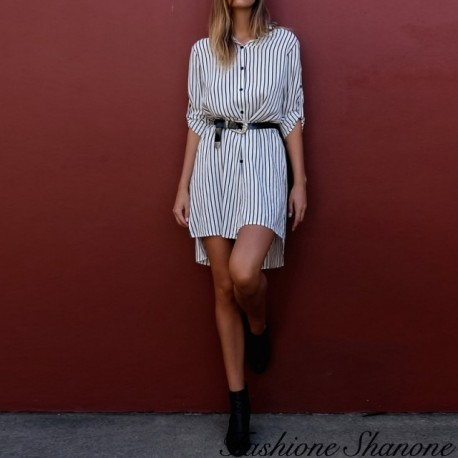 Fashione Shanone - Striped shirt dress