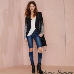 Fashione Shanone - Blazer noir à paillettes argentés