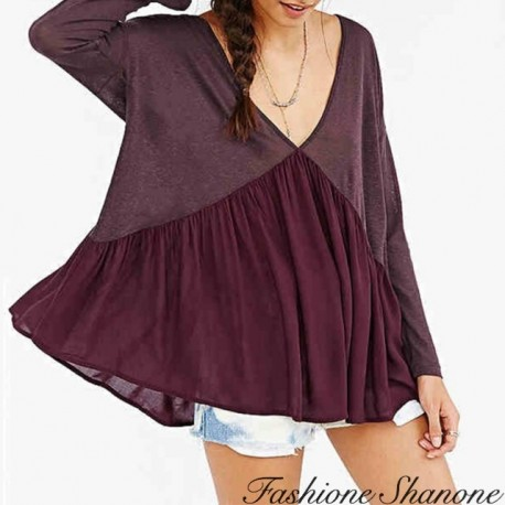 Fashione Shanone - Wine red flared blouse