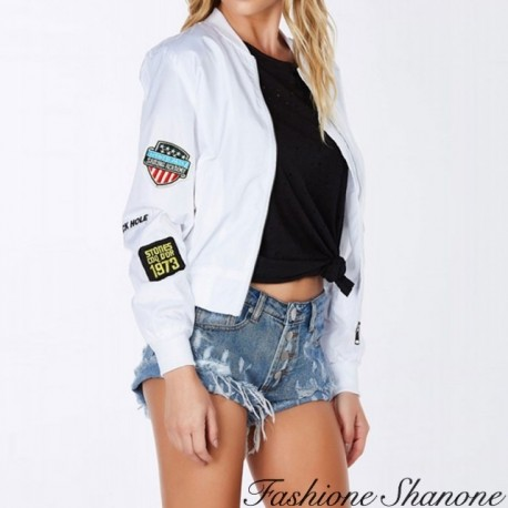 Fashione Shanone - White bomber with patch