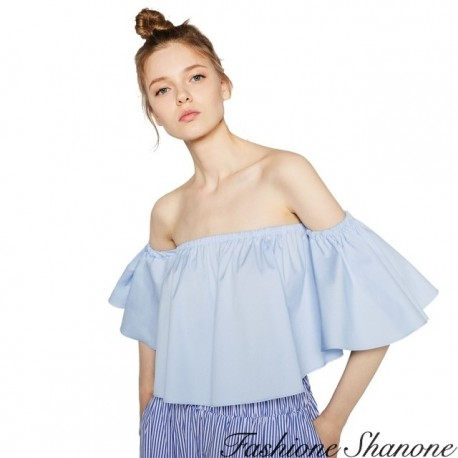 Fashione Shanone - Crop blouse with Bardot neckline