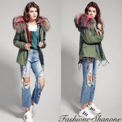 Fashione Shanone - Khaki parka with multicoloured fur hoodie