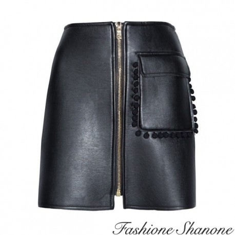 Fashione Shanone - Black leather skirt with pocket