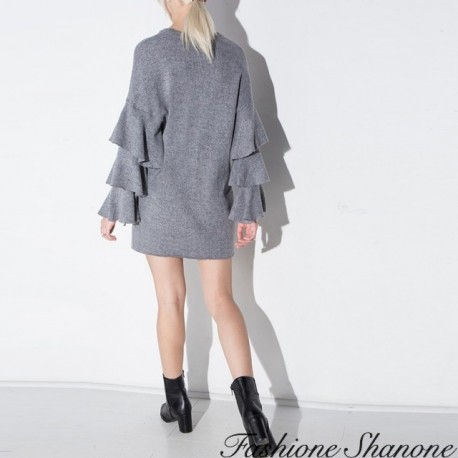 Fashione Shanone - Sleeves with ruffles grey dress