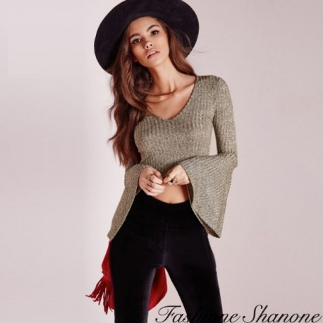 Fashione Shanone - Crop sweater with flared sleeves