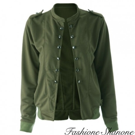 Fashione Shanone - Double-breasted khaki jacket