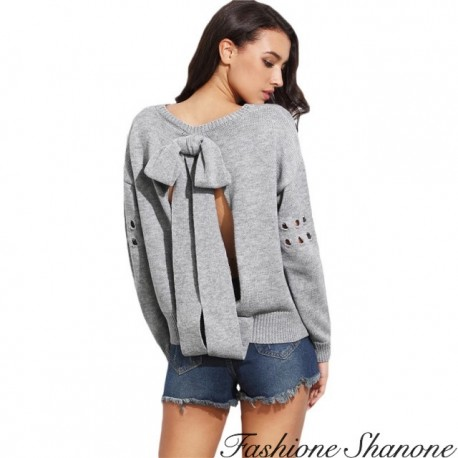 Fashione Shanone - Sweater with bow on the back
