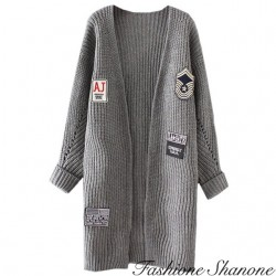Fashione Shanone - Grey long cardigan with patches