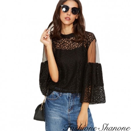 Fashione Shanone - Lace blouse with flared sleeves