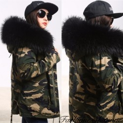 Fashione Shanone - Military parka with fur hood