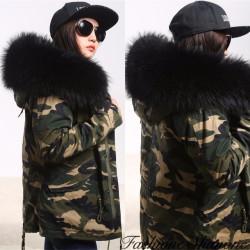 Fashione Shanone - Parka militaire avec capuche en fourrure