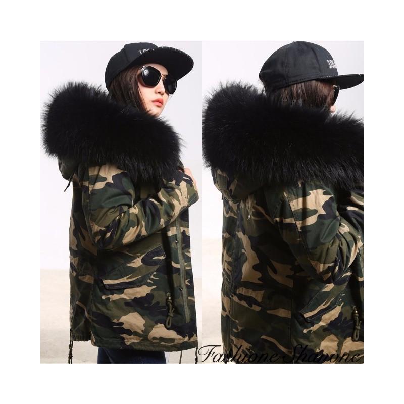 Fashione Shanone - Military parka with fur hood