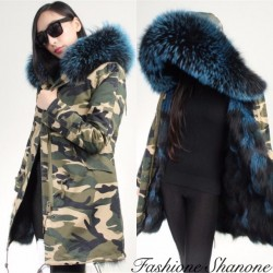 Fashione Shanone - Military long parka with fur hood