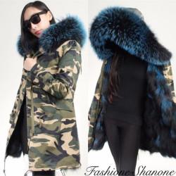 Fashione Shanone - Parka longue militaire avec capuche en fourrure