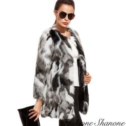 Fashione Shanone - Manteau en fourrure noir et blanc