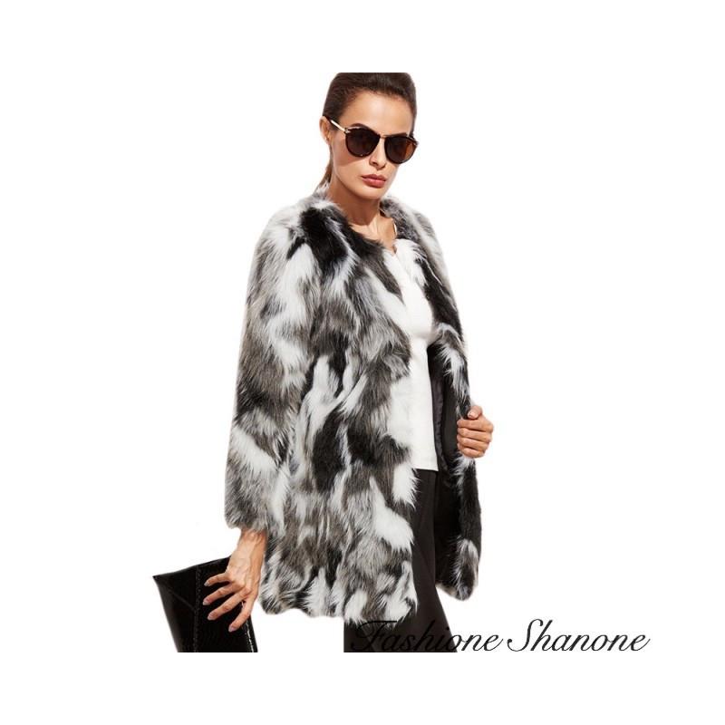Fashione Shanone - Black and white fur coat