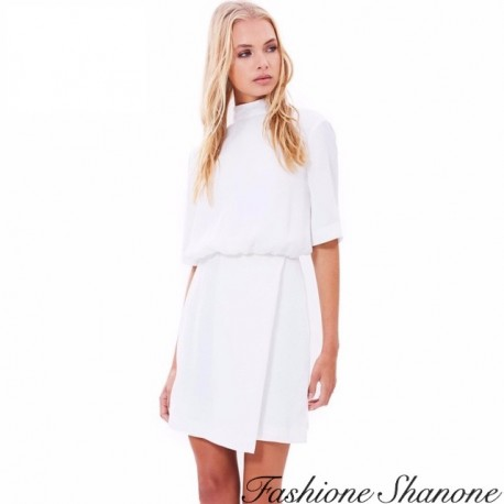 Fashione Shanone - Short sleeves dress with high collar