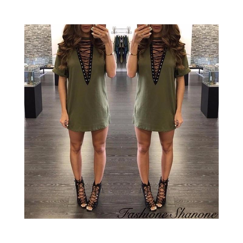 Fashione Shanone - Lace-up t-shirt dress