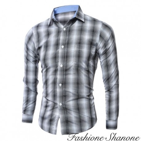 Fashione Shanone - Gray and white plaid shirt