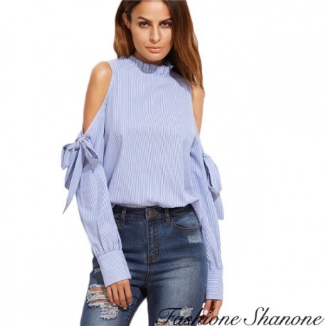 Fashione Shanone - Striped blouse with off shoulders