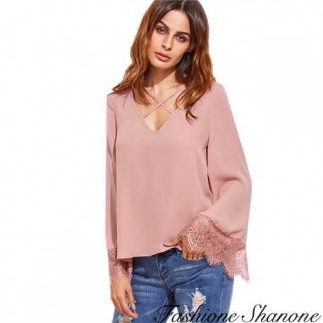 Fashione Shanone - Pink lace blouse