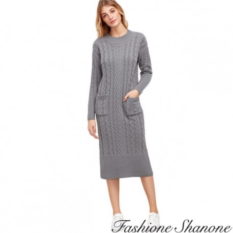 Fashione Shanone - Grey twisted sweater dress