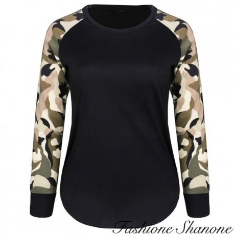 Fashione Shanone - Black sweatshirt with military sleeves