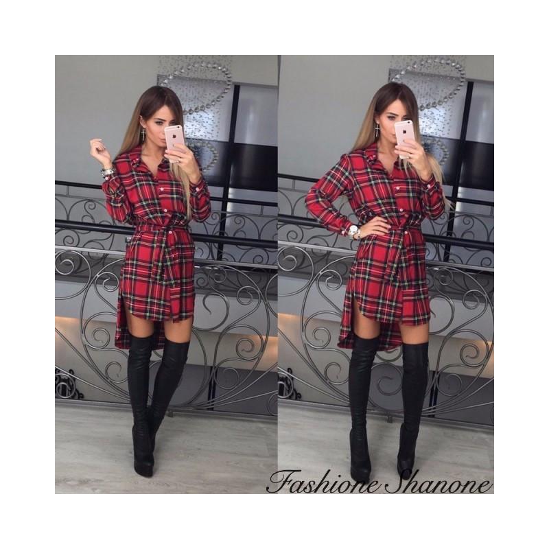 Fashione Shanone - Plaid shirt dress