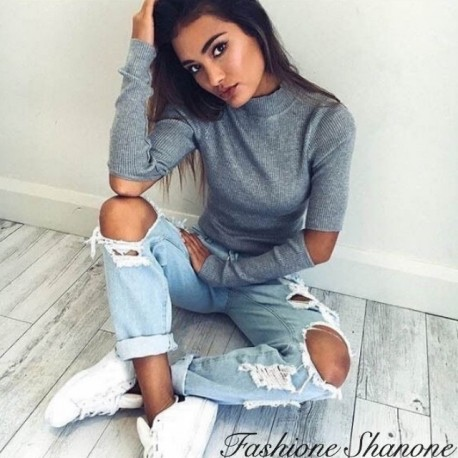 Fashione Shanone - Grey sweater with holes elbows