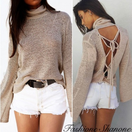 Fashione Shanone - Sweater with lace-up on the back