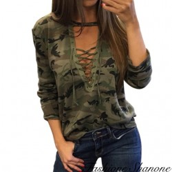 Fashione Shanone - Lace-up military T-shirt