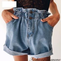 Fashione Shanone - Short en jean taille haute élastique