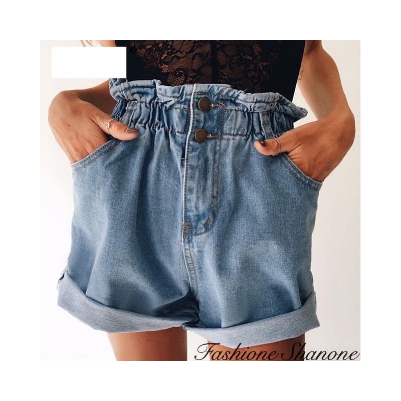 Fashione Shanone - Elastic high waist denim shorts