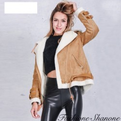 Fashione Shanone - Suede and lamb wool coat